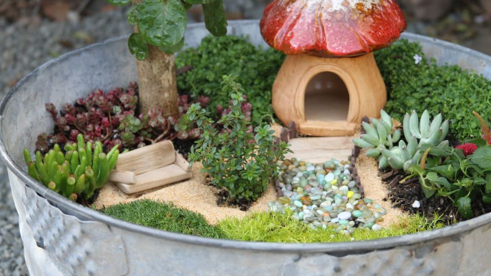 Ideas For Fairy Gardens wash tub house Wash Tub House