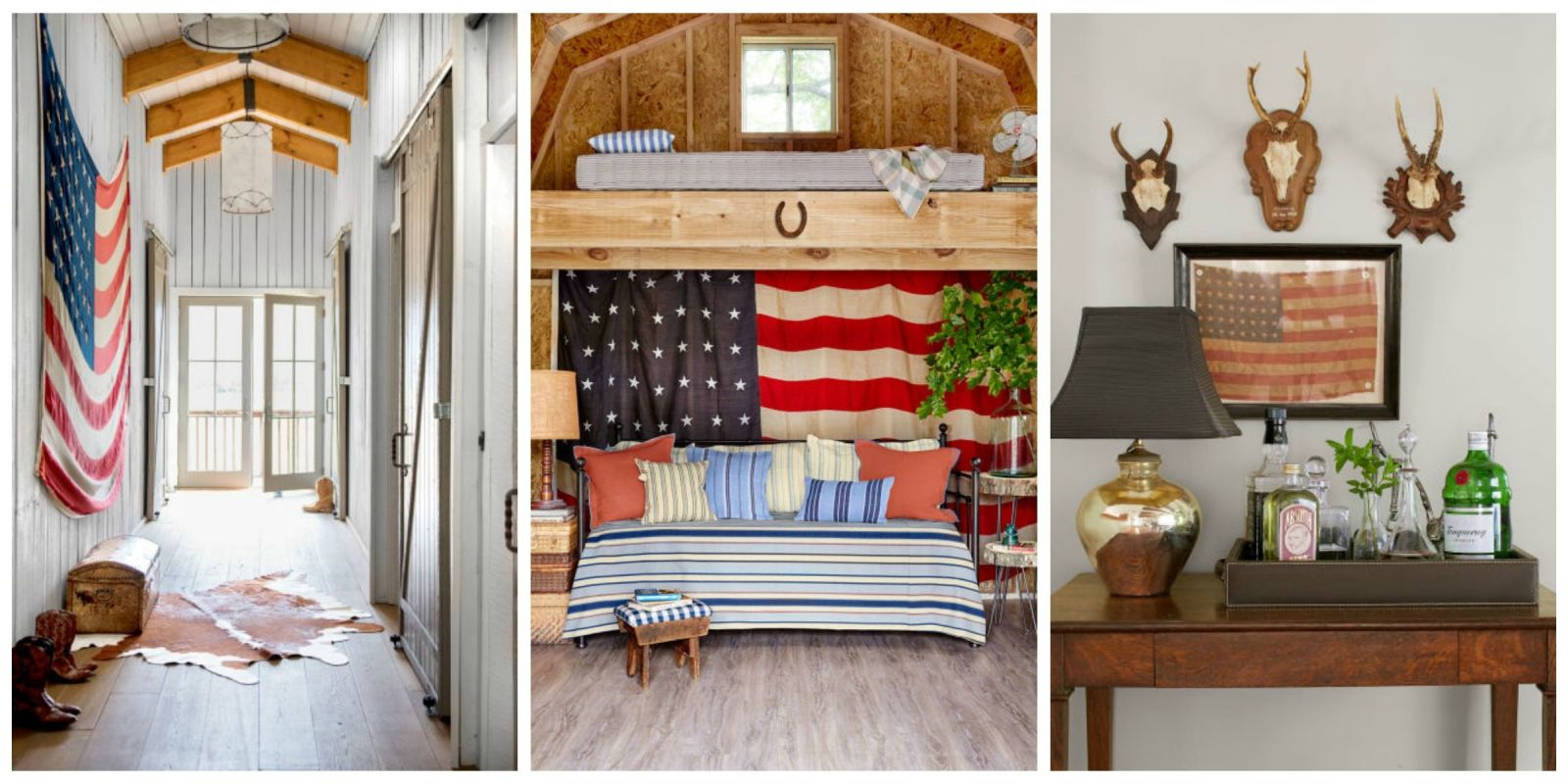 Americana home decor antique flags for Americana style house