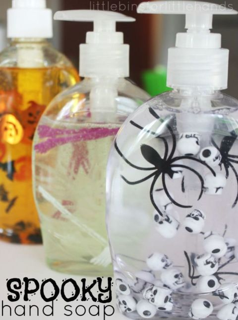 Make washing your hands a scary affair. Simply add Halloween items to your favorite hand soap — we suggest small pumpkin, bats, eyeballs, or spiders — and stir with skewers. 