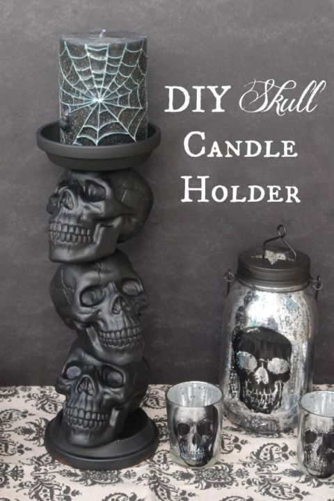 With a little spray paint and a hot glue gun, you can turn plastic skulls and two terracotta saucers into a candle holder that screams Halloween. 