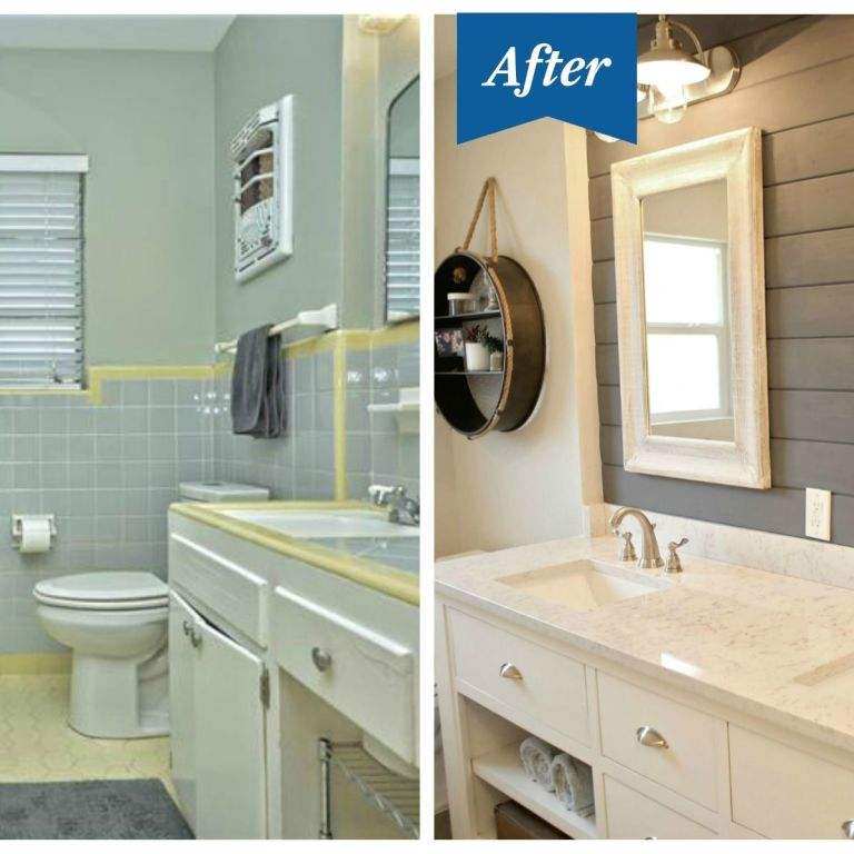 Win Bathroom Makeover: Seabrook Styles Shiplap Makeover