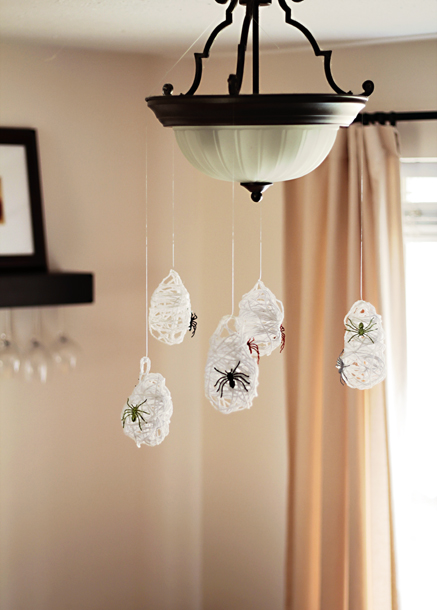 Make these hanging creepy-crawlers with water balloons, yarn, and standard craft glue. The fun part? You get to pop the balloons once the glue-soaked string has dried overnight. 