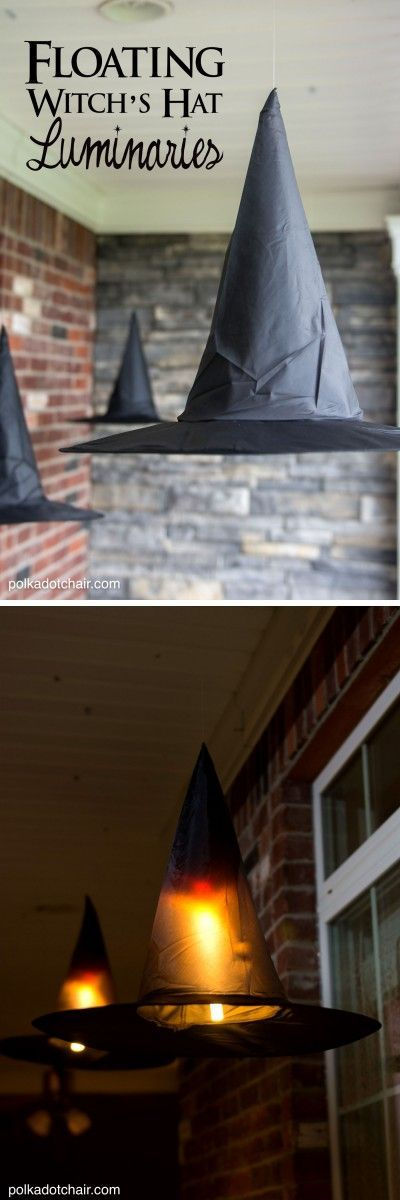Use command hooks and extension cords to hang witch's hat luminaries on your porch. They'll look like they're floating, especially at night when they're lit up and glowing.   