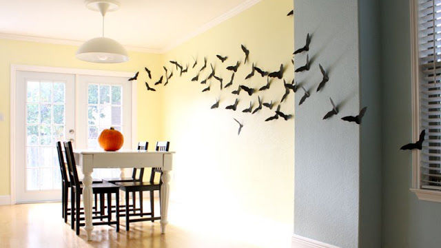This swooping display will look spooky in any room. Just use a template to cut out your creatures and stick onto your walls with scotch or double-stick tape. 