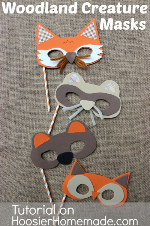 Give your little one options this Halloween. To make these creature masks, use simple printables, foam sheets, pipe cleaners, scrapbook paper, and a straw for the mask's handle. Get the tutorial at Hoosier Homemade.
