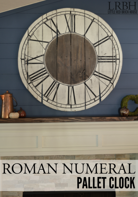 Craft your own wall decor out of eight pallet boards and a jigsaw. This rustic piece will look great over any farmhouse mantel! Get the tutorial at Little Red Brick House.