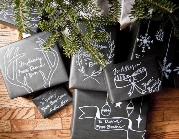 With black kraft paper and some white paint markers, these creative packages will look great underneath your tree. Get the tutorial at Going Home to Roost.