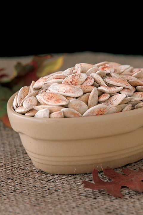 Try varying the seasonings in this recipe by using soy sauce, garlic salt, or curry powder. Like many nuts, roasted pumpkin seeds should be stored in the freezer. Get the recipe.