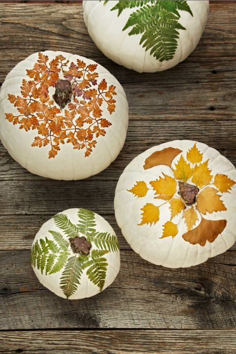 Hit the road, Jack! Carved pumpkins don't hold a candle to this naturally brilliant idea. Just use ModPodge to découpage a white gourd with pressed leaves. You can harvest the foliage from your own backyard—or online at naturespressed.com.
