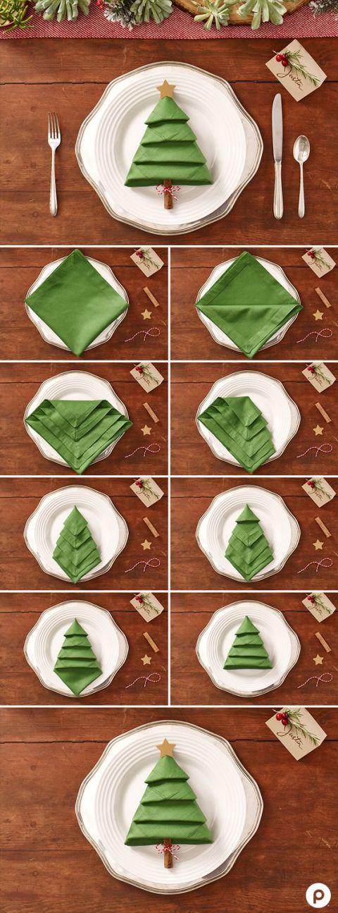 Pliage de serviette sapin pour noel