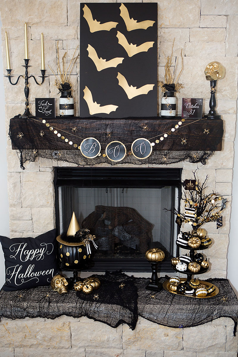 35 fall mantel decorating ideas halloween mantel decorations - Halloween Mantle