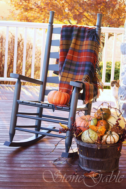 A plaid blanket and a basket full of pumpkins? All that's missing from this autumnal scene is a steaming pumpkin-spiced latte. 