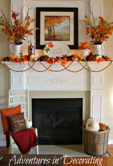 The best part about this fall mantel? Its simple, colorful components make it an appropriate display for September, October, and November.