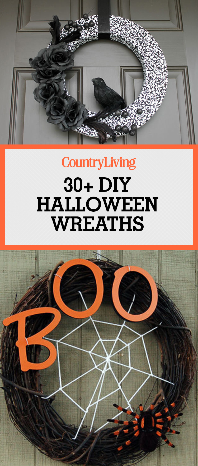 30 diy halloween wreaths how to make halloween door decorations ideas. Black Bedroom Furniture Sets. Home Design Ideas
