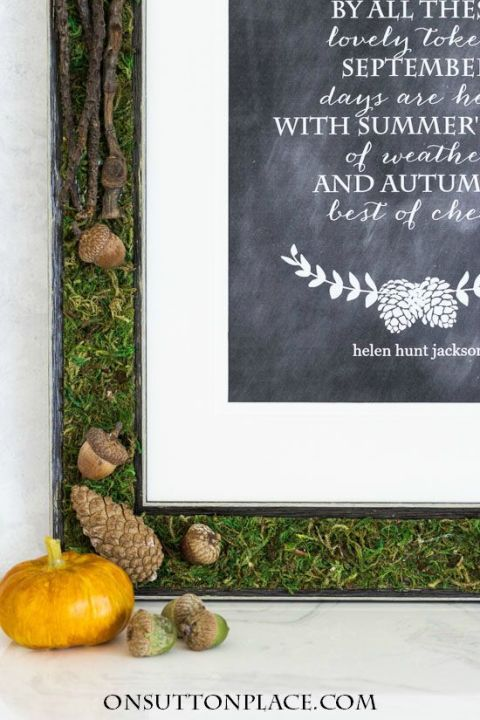 Ann from On Sutton Place DIYed her way to a woodland-themed frame that's complete with moss, acorns, and pinecones. You can follow her lead and fill it with a fall-themed quote, or put a favorite family photo in it instead. 