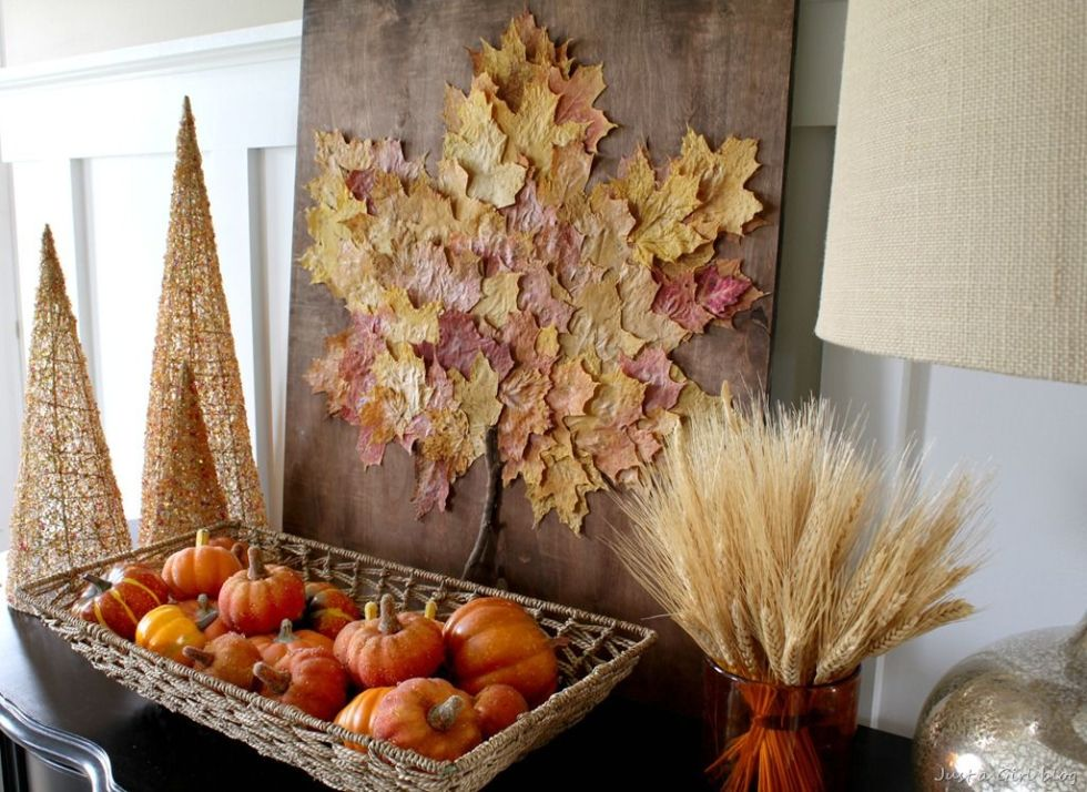 Collect fallen leaves from your backyard and turn them into a beautiful piece of art. 
