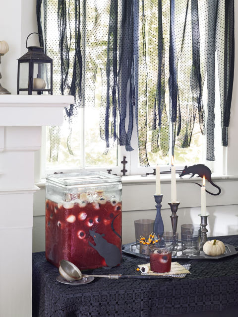 Drain 2 (15-oz.) cans lychees, reserving 1 ½ cups of syrup. Carefully stuff blackberries (from a 6-oz. container) in each lychee; chill. Stir together reserved syrup, 4 cups tart cherry juice, and 1 cup fresh orange juice in a large pitcher; chill. Add stuffed lychees and 3 (12-oz.) cans chilled sparkling water to punch. Serve over ice. Makes 12 servings
