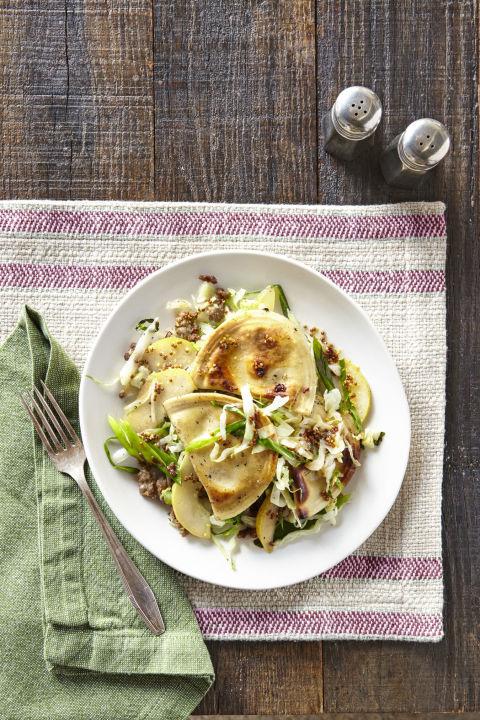 Pierogies with Sausage, Cabbage & Pear