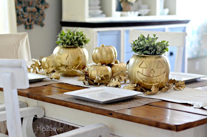 golden jack o lanterns - Halloween Centerpieces For Tables