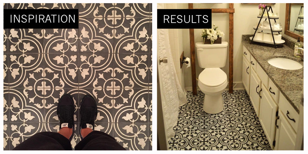Endearing 80 painting old bathroom tile floor design for Paint over vinyl floors