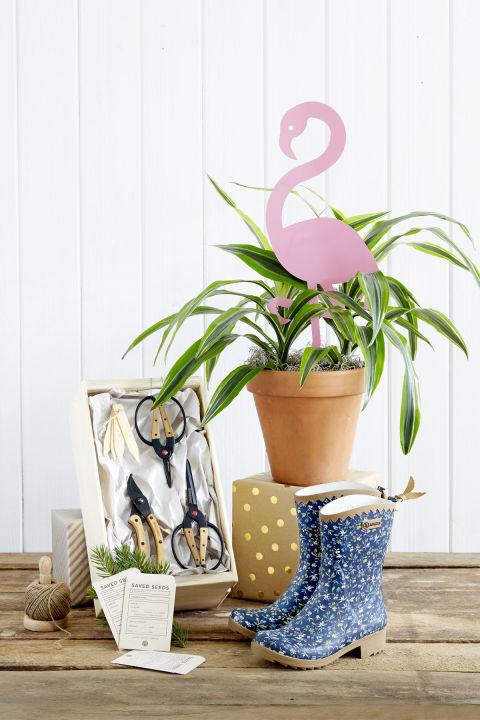 Flamingo Garden Stick, $45;nestedny.com.Gardening Kit, $90;barebonesliving.com.Seed Savers, $20 for 100;cottagebotanicalfarm.etsy.com.Garden Boots, $130;shopterrain.com.