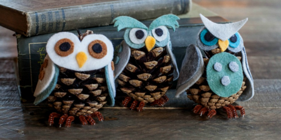 Felt and Owl Pinecone Craft  How to Make Felt Owl Pinecones