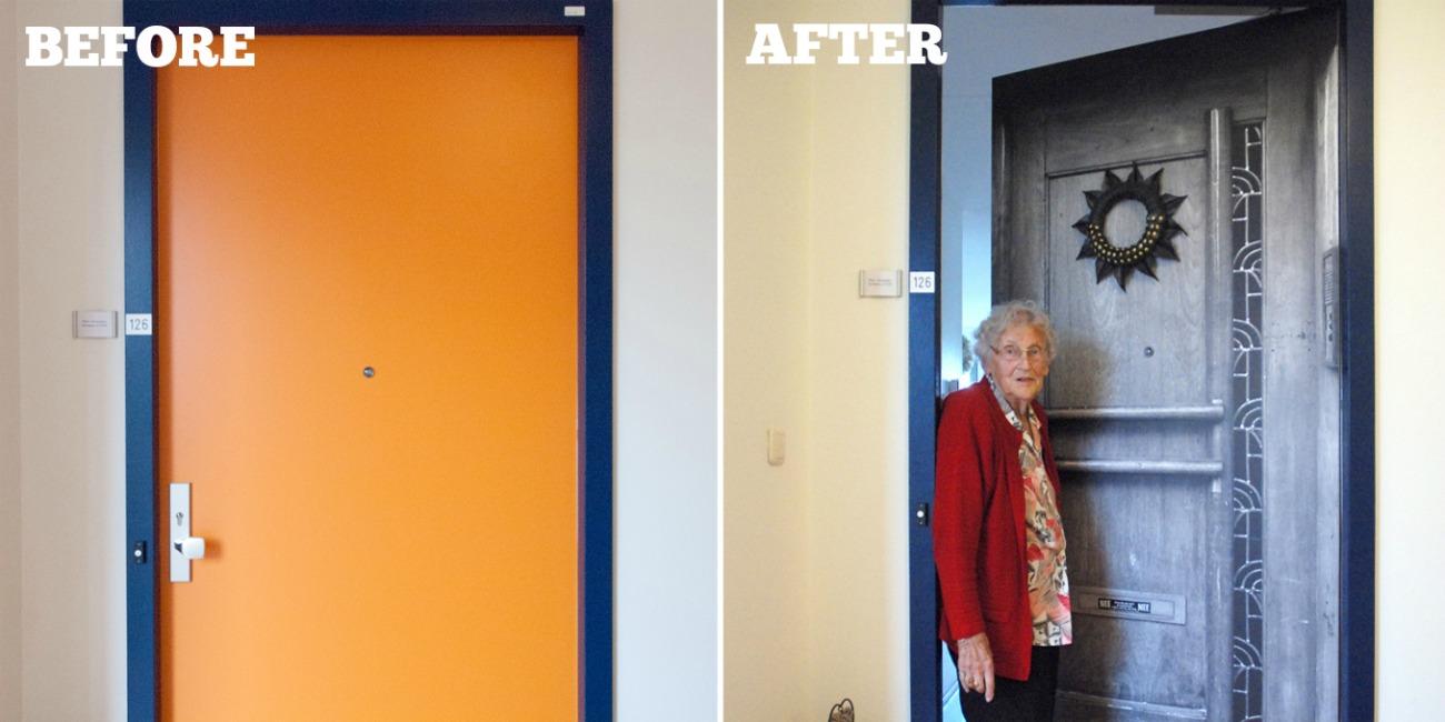 Door wallpaper at nursing home door makeovers help for Nursing home door decorations