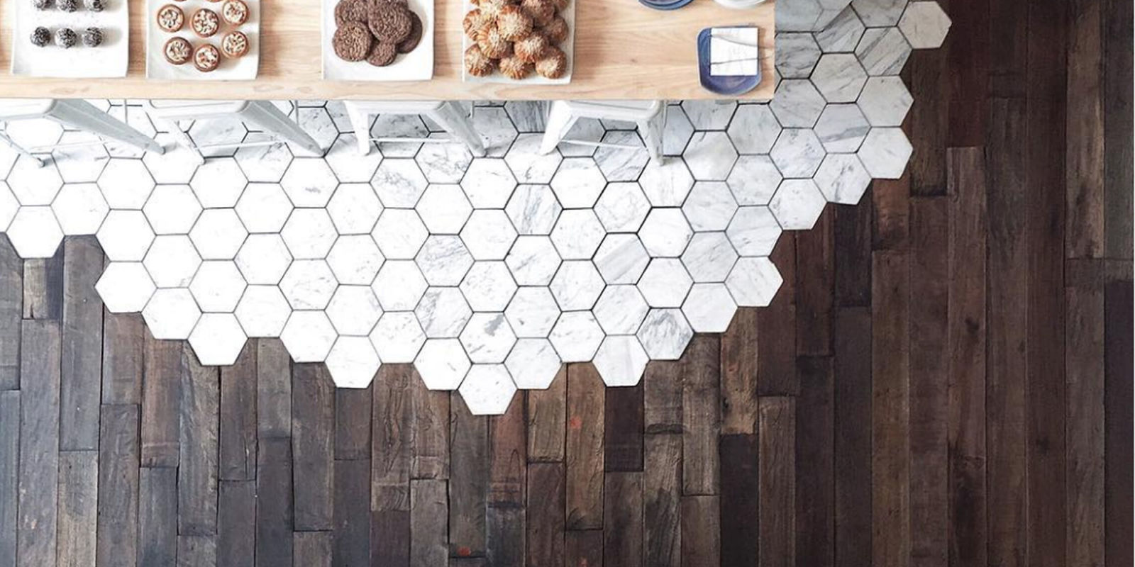 Hexagonal Tiles And Hardwood Make The Most Beautiful