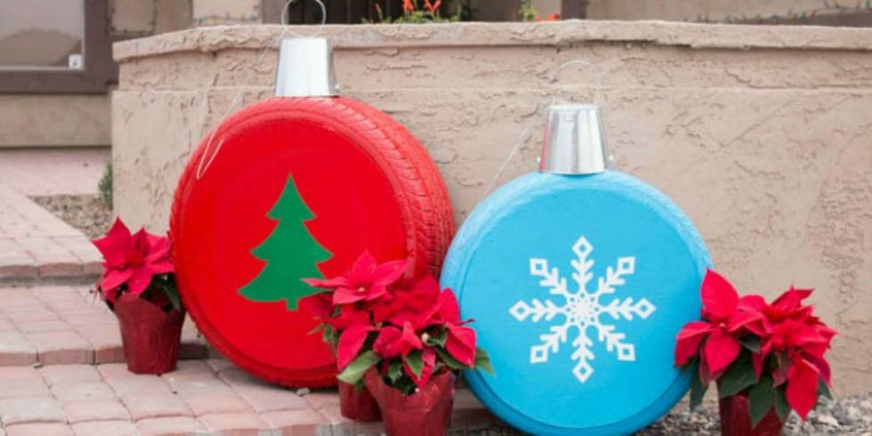 Diy Giant Christmas Ornaments Turn Tires Into Christmas