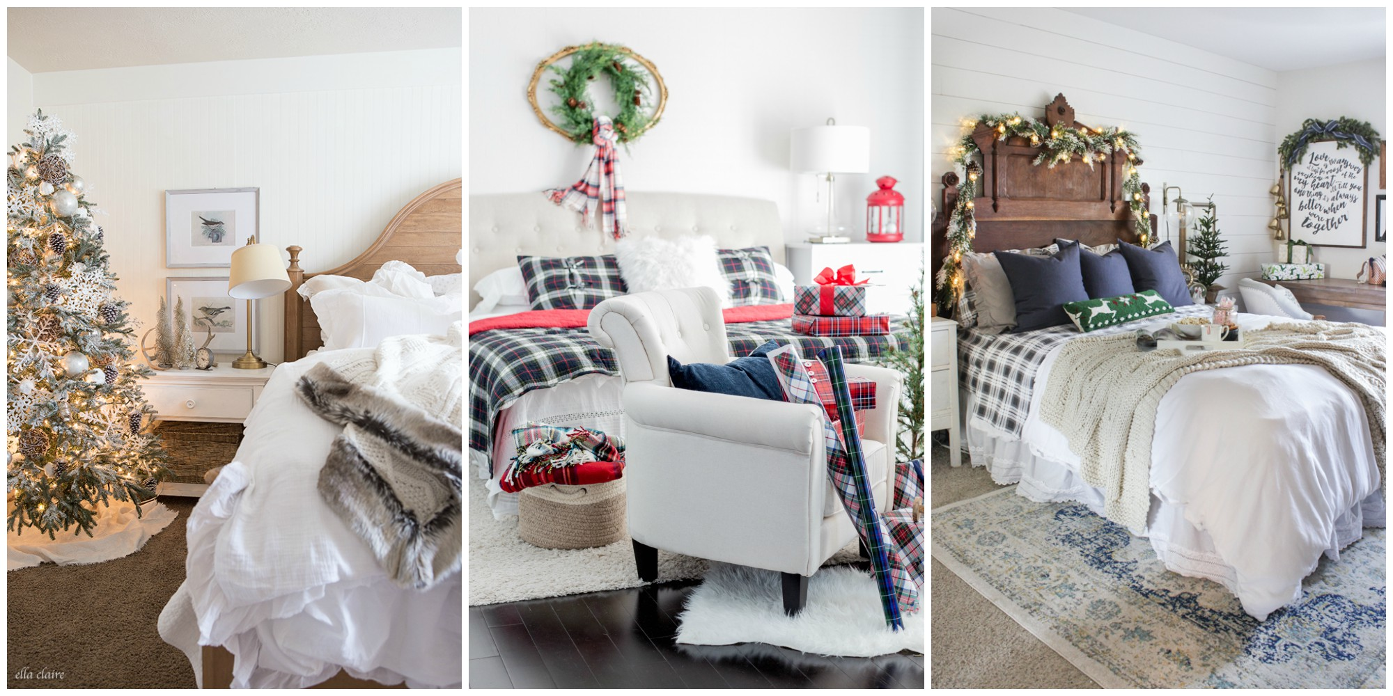 Christmas Decorations To Make For Your Bedroom : Christmas bedroom decorating ideas farmhouse