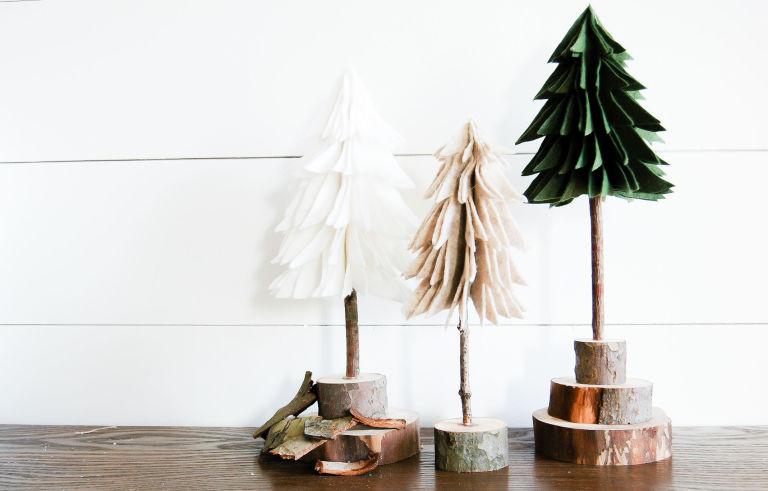 DIY Rustic Felt Christmas Trees - How to Make Felt Christmas Trees