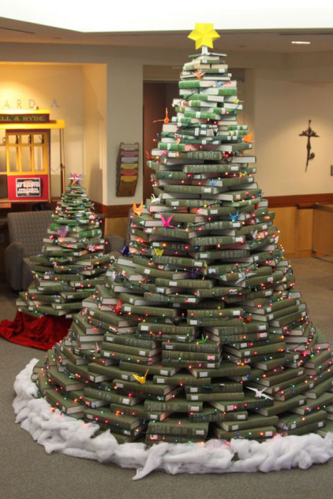 christmas trees made out of books - A Christmas Tree