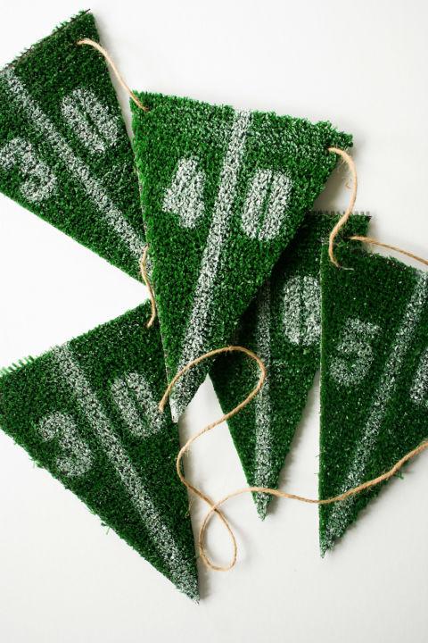 diy football party astroturf yard line bunting - Football Decorations