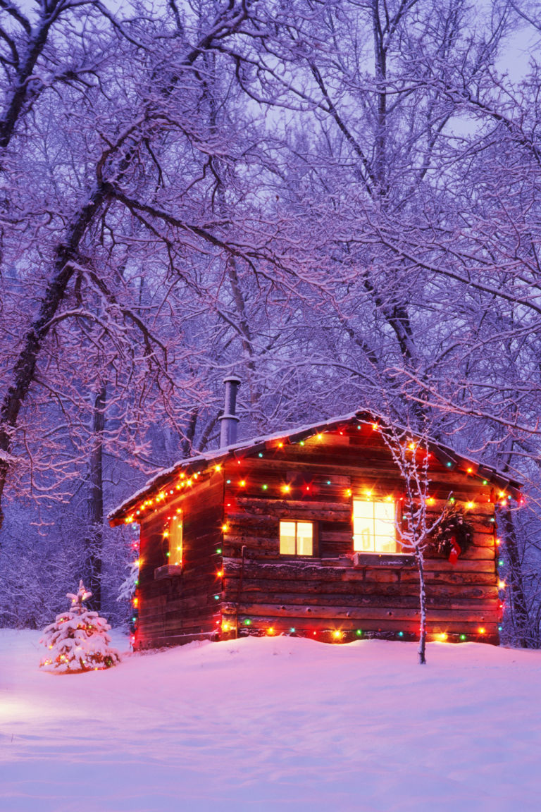 Log cabin in the woods winter - Log Cabins In The Snow