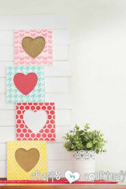 Colorful frames—adorned with burlap and bright scrapbook paper—create a cheerful way to show off family photos for Valentine's Day. Get the tutorial at Crafts by Courtney.