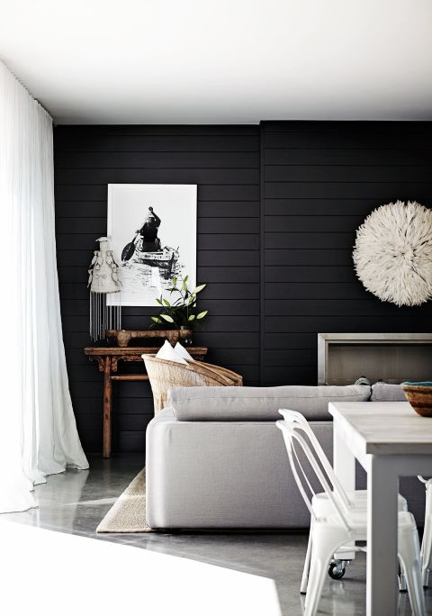 15 black shiplap ideas how to style the black shiplap trend for Black feature wall living room