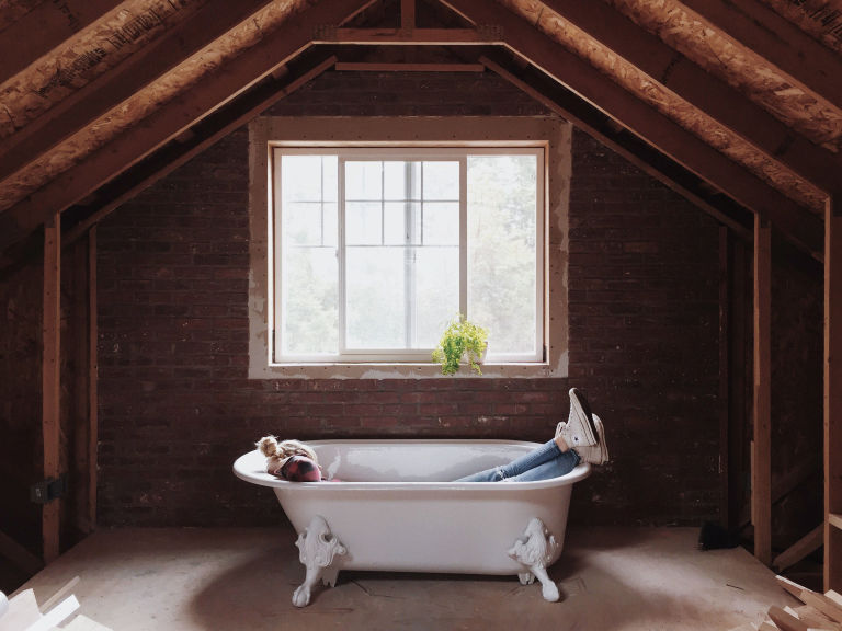 small attic bath this couple turned their attic into a master suite they never want