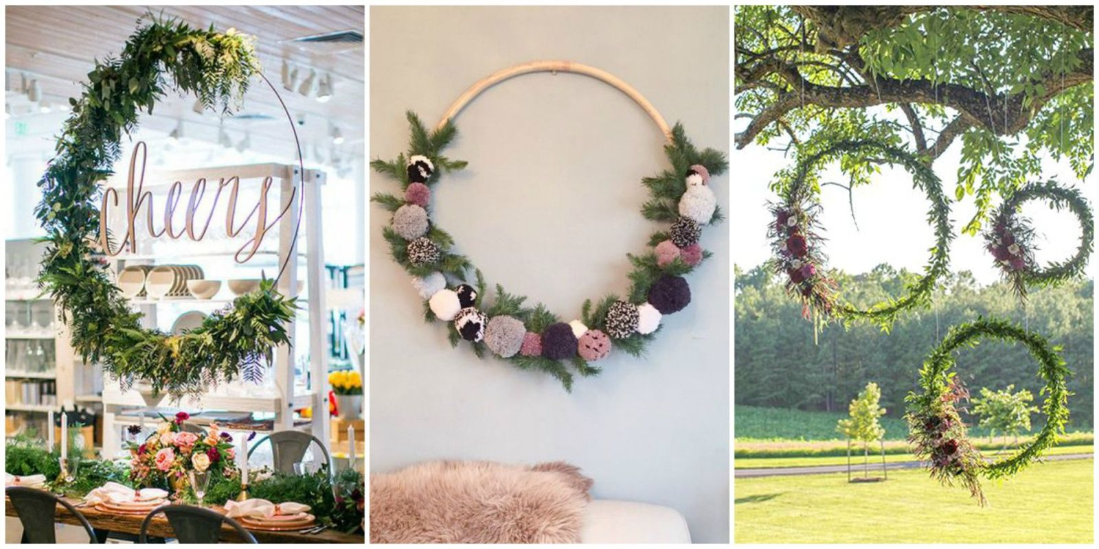 How to make large hula hoop wreaths for spring diy large for Landscape decor