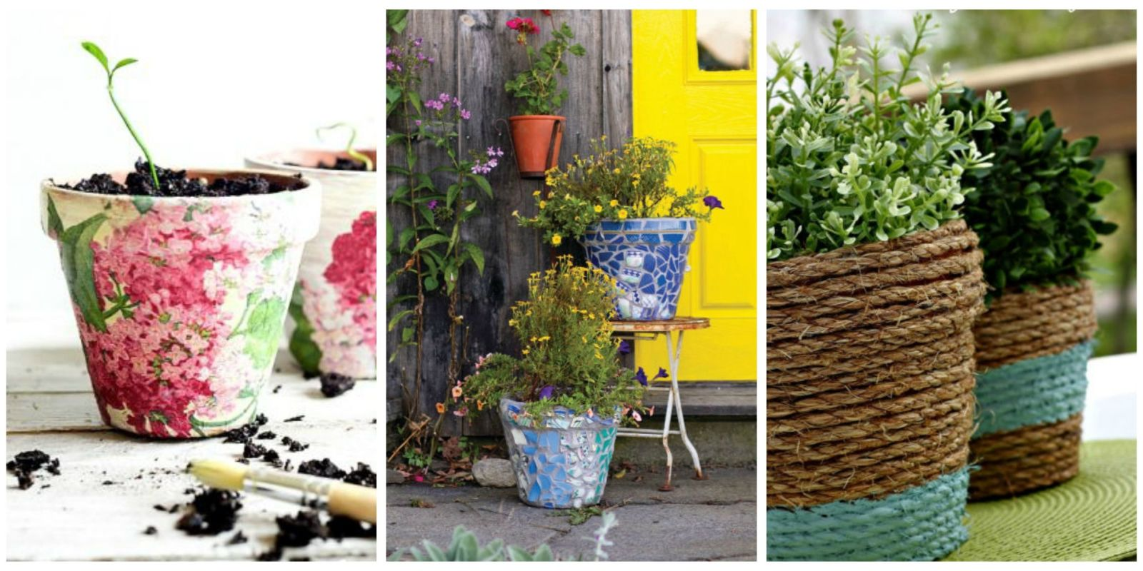 24 seriously pretty diy flower pot ideas how to decorate for Garden design ideas with pots