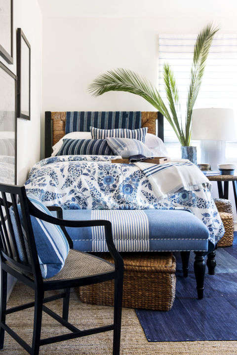 blue stripes add layers and richness to a room - How To Add Color To A Room