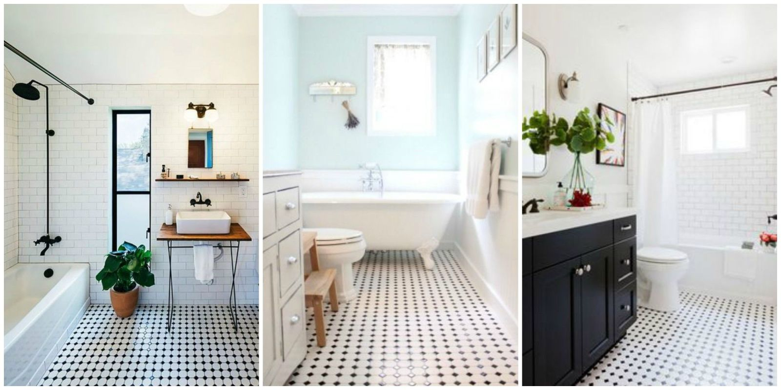 Classic black and white tiled bathroom floors are making a for Black and white tile floors