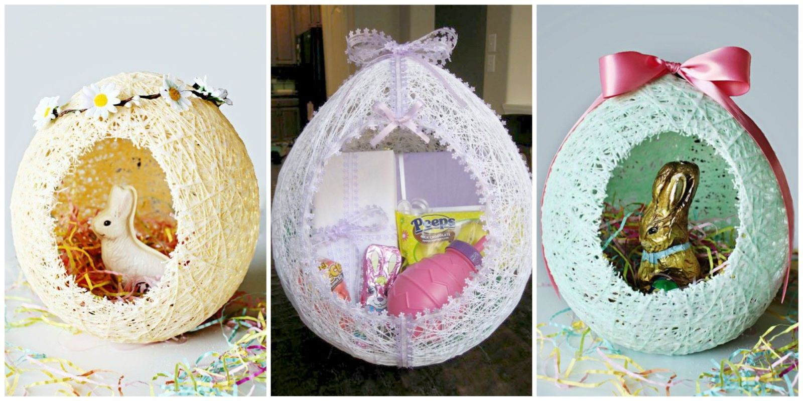 these diy sugar string easter baskets are the most adorable