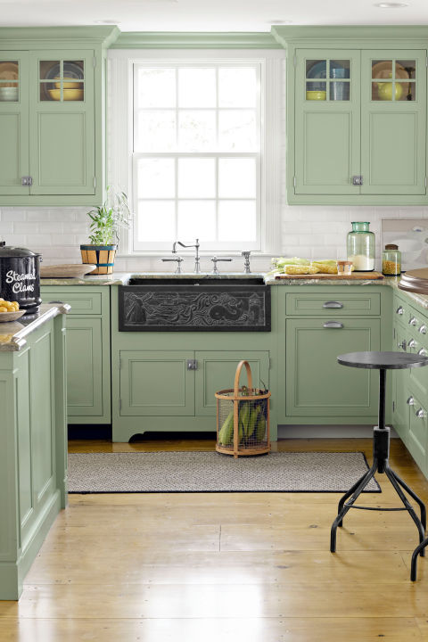 15 best kitchen color ideas paint and color schemes for Kitchen cabinets light green