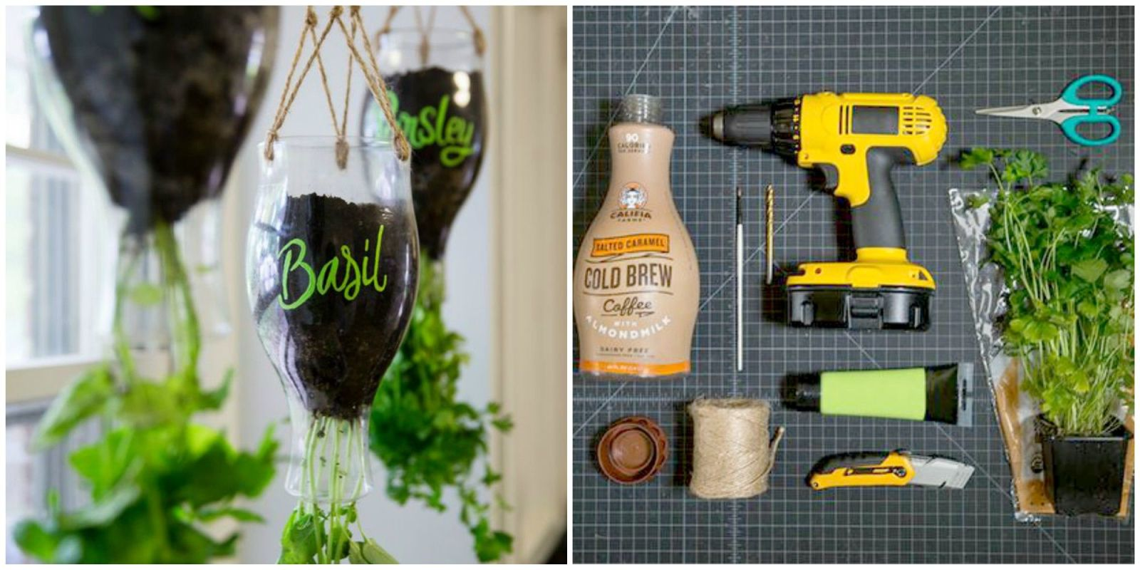 How to turn plastic bottles into the cutest indoor herb for Plastic bottle planter craft