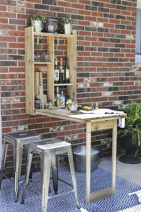Attractive Try Installing A Murphy Bar Outside, Which Simply Folds Down Into A Table  Whenever Youu0027re Ready To Use It! The Shelves Are Perfect For Storage, ...