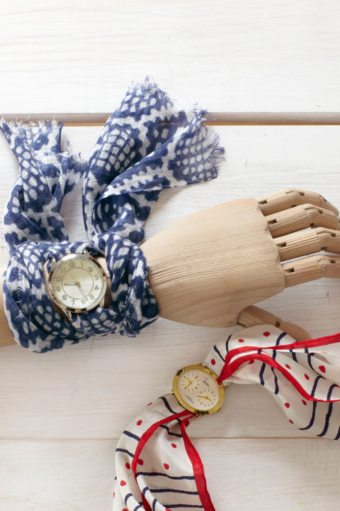 It's easy to fall in love with vintage scarves at flea markets and thrift stores. The hard part? Finding a fresh way to wear the ladylike relics. Here's one: Just remove the straps from a watch, then weave a scarf through the watch's lugs (the bars that hold the straps in place). Wrap the scarf's ends around your wrist and secure with a knot to make a timely fashion statement.
