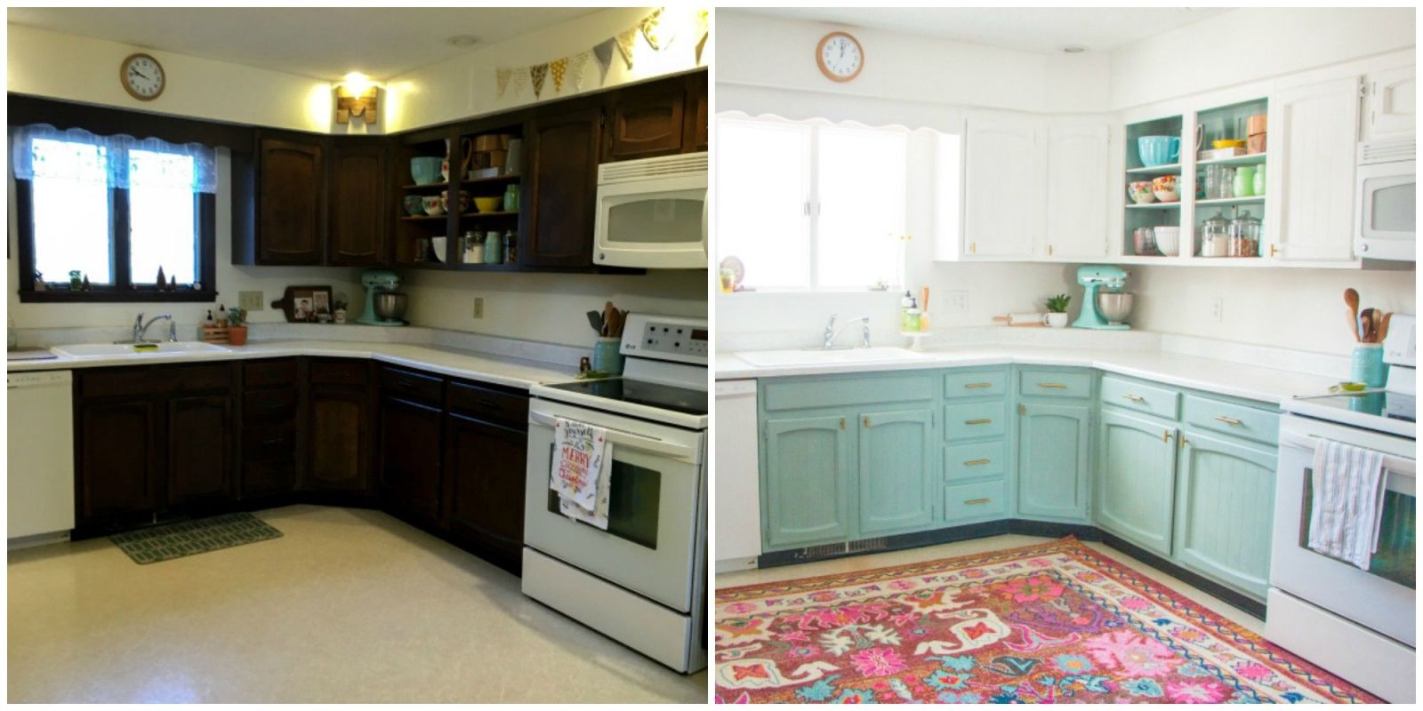 This bright and cheery kitchen renovation cost just 250 for Before after kitchen makeovers