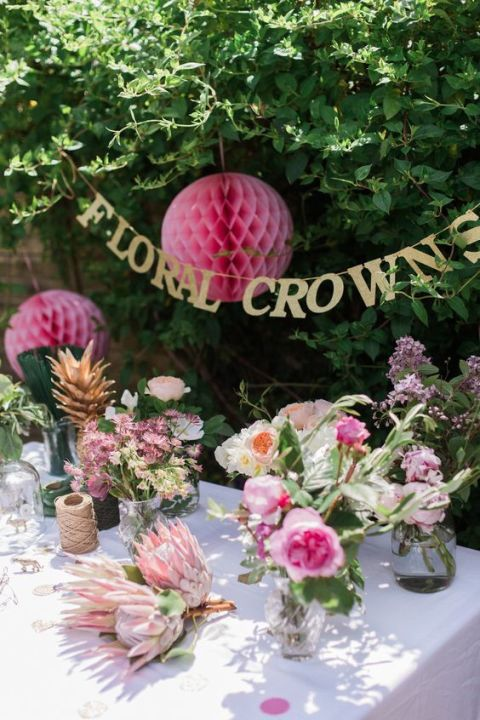 Flower Crown Craft - 40+ Best Bridal Shower Ideas - Fun Themes, Food, And Decorating
