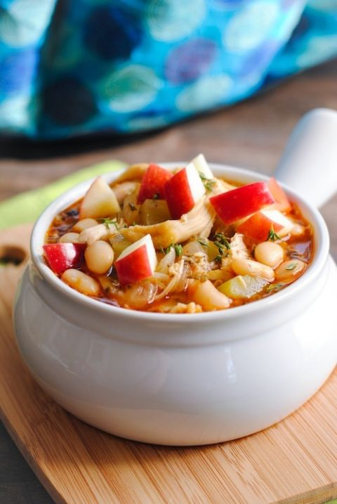 Instead of using chicken broth as a chili base, this recipe calls for apple cider as a delicious alternative.