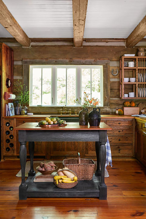 Jack Hanna's Cozy Log Cabin in Montana. Log Cabin KitchensSmall Rustic ...